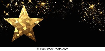 Christmas black banner with star.
