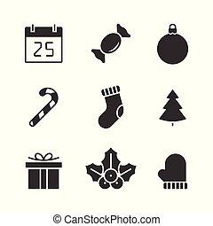 Christmas black icons