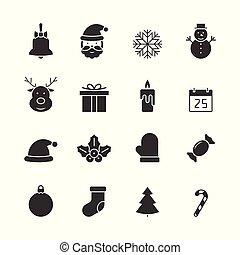 Christmas black icons set