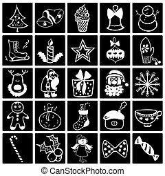 Christmas black-white icon set