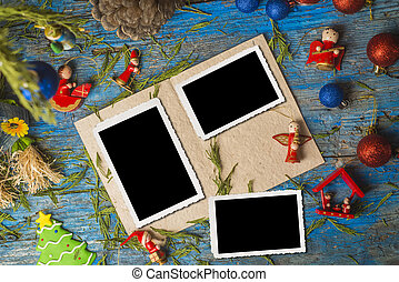 Christmas blank photo frames vintage