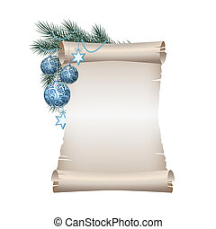 Christmas blank scroll paper on white background