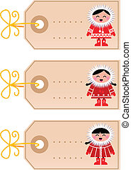 Christmas blank tags with eskimo kids isolated on white