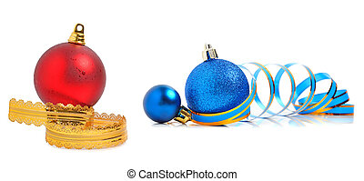 Christmas blue and red baubles with a ribbon