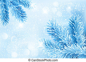 Christmas blue background with christmas tree branches and snowflakes.