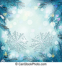 Christmas blue background with christmas tree branches and snowflakes. Vector illustration.