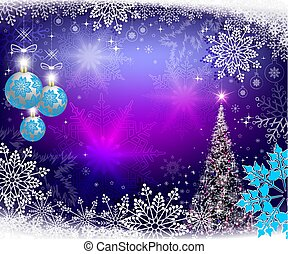 Christmas blue background with Christmas tree and balls