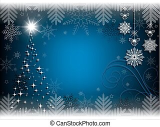 christmas blue background with christmas tree