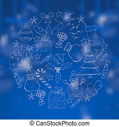 christmas blue background with doodle hand drawn icons