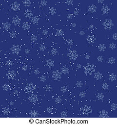 Christmas blue background with falling snowflakes
