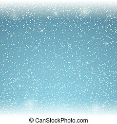 Christmas blue background with falling snowflakes. Vector illustration.