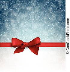 Christmas blue background with gift bow. - Winter blue...