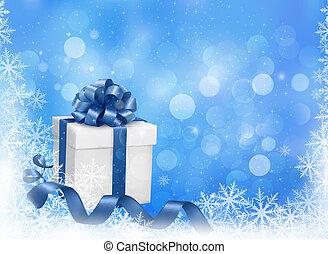 Christmas blue background with gift box and snowflakes. Vector illustration.