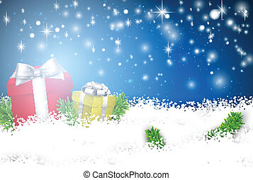 Christmas blue background with gift boxes.
