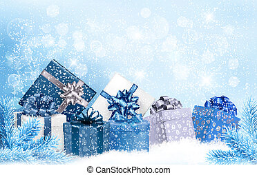 Christmas blue background with gift boxes and snowflakes. ...