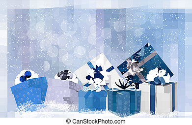 Christmas blue background with gift boxes and snowflakes. Vector illustration.
