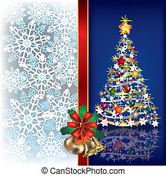 Christmas blue background with handbells