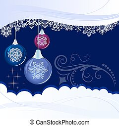 Christmas blue background with hanging glossy decoration balls.