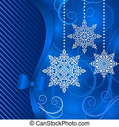 Christmas blue background with hanging ornamental snowflake shapes.