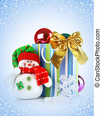Christmas blue background with holiday gift
