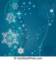 Christmas blue background with ornamental snowflake shapes.