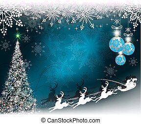 Christmas blue background with Santa Claus on deer