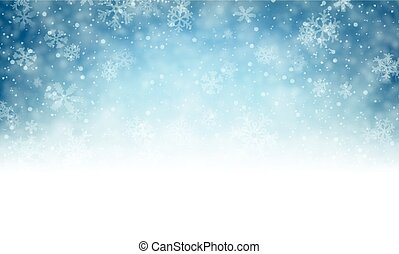 Christmas blue background with snow. - Winter background...
