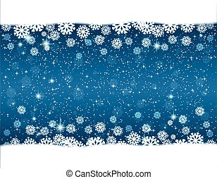 Christmas blue background with snowflakes and star
