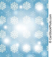 Christmas blue background with snowflakes, vector illustration