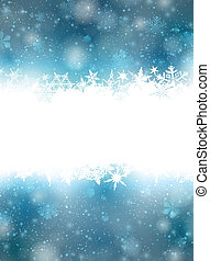 Christmas blue background with snowflakes.