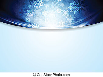 Christmas blue background with waves