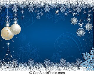 Christmas blue background with white balls