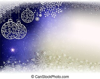 Christmas blue background with white balls in retro style and snowflakes.