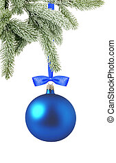 Christmas blue ball and tree branch isolated over white background