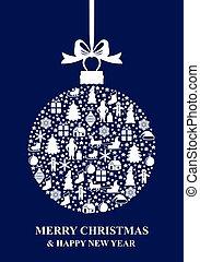 Christmas blue ball card