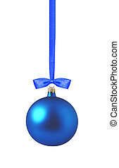 Christmas blue ball isolated over white background