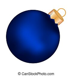 Christmas blue ball on a white background
