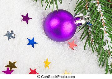 Christmas blue ball on fir tree