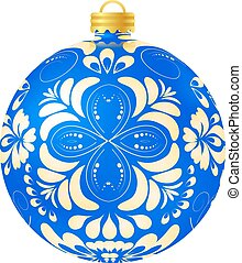 Christmas blue ball on white background. Vector illustration