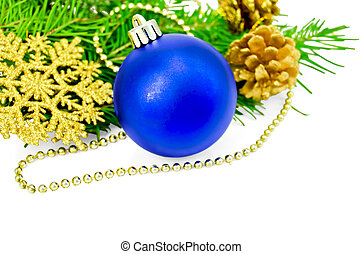 Christmas blue ball with golden ornaments