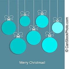Christmas blue balls background