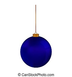 Christmas blue balls hanging on a thread on a white background.