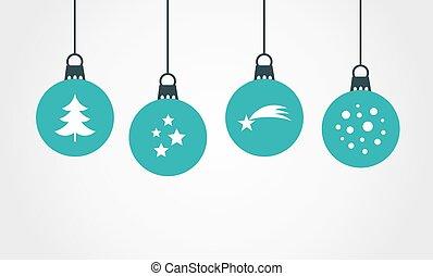 Christmas blue balls hanging ornaments.