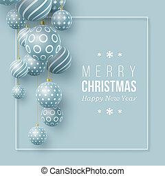 Christmas blue balls holiday background.
