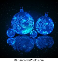 christmas blue balls on a black background