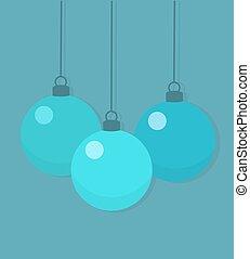 Christmas blue baubles