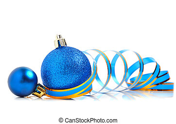 Christmas blue baubles with a ribbon