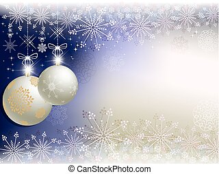 Christmas blue, beige background with balls