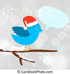 Christmas blue bird with message bubble sitting on a tree branch
