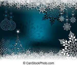 Christmas blue card with dark snowflakes